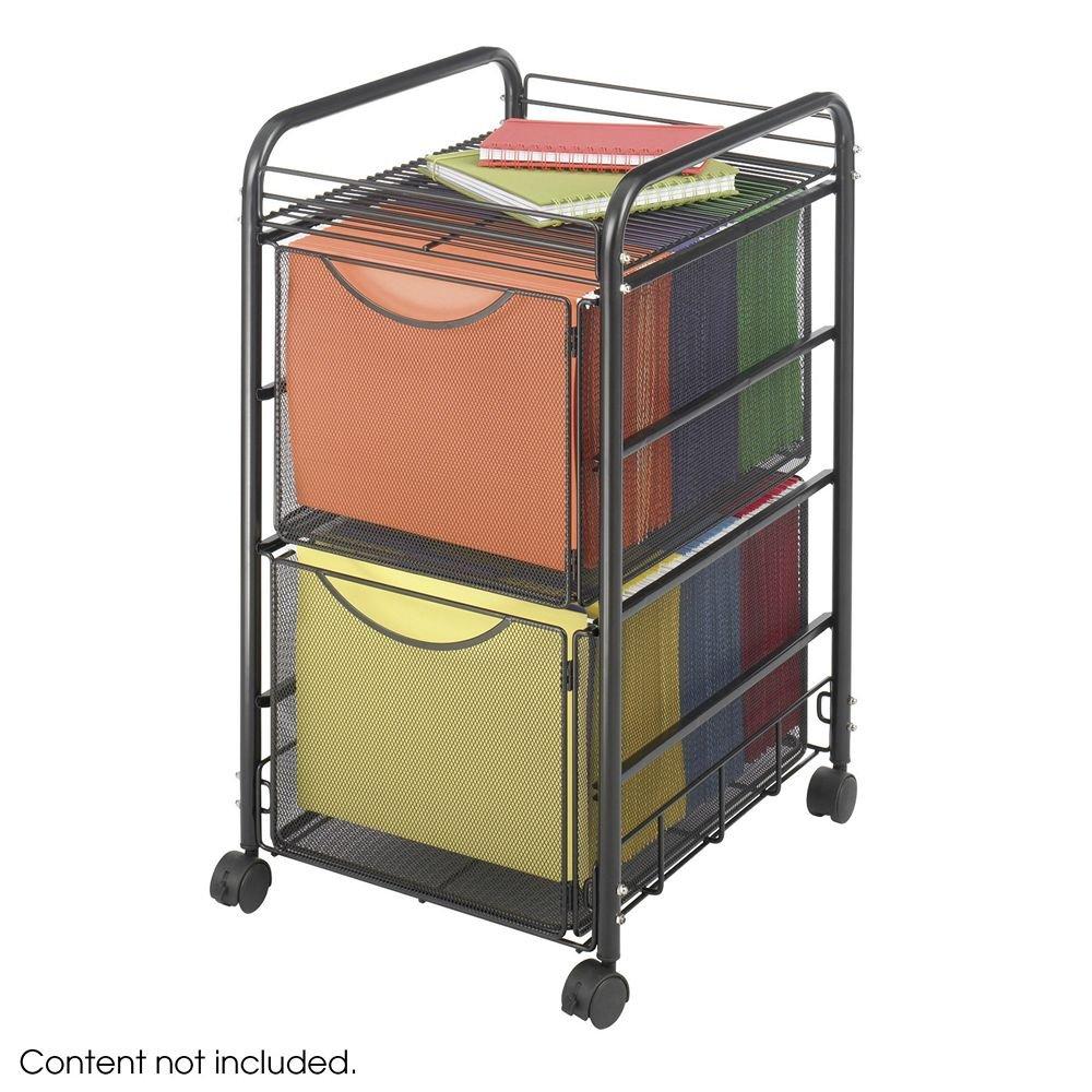 Onyx Mesh Mobile Double File, 1-Shelf, 15-1/2 x 17-1/4 x 27-1/4, Black Safco SAF5212BL