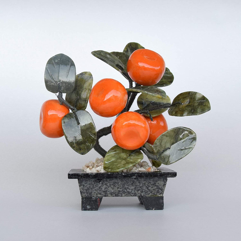 Iulia Feng Shui Crystal Mandarin Tree/Living Room Accessories/Decorative Glass Art/Glass Fruits/Mindfulness Gift/Office Desk Decor