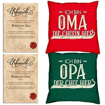 2 Geschenkkarten 2 Sprüche Kissen Ich Bin Opa Der Chef