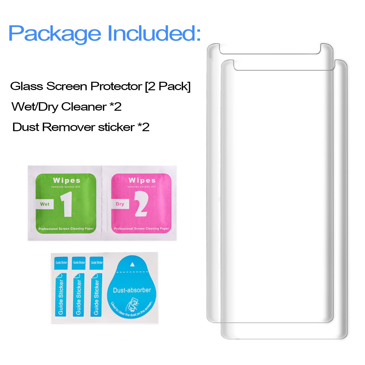 [2Pack] Galaxy Note 8 Screen Protector, 3D Full Screen Coverage Glass [Curved] [Bubble-Free] [9H Hardness] [Anti-Scratch] Clear Galaxy Note 8 Tempered Glass Screen Protectors for Samsung Galaxy Note 8 by AsianiCandy (Image #9)