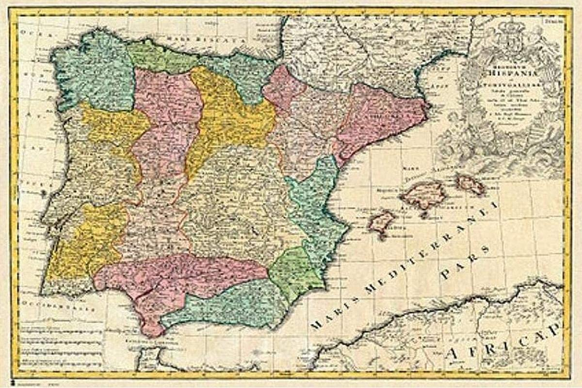 Close Up Póster Mapa Antiguo De España (91,5cm x 61cm): Amazon.es ...