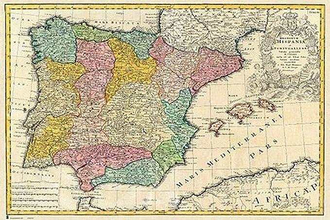 Close Up Póster Mapa Antiguo De España (91,5cm x 61cm): Amazon.es: Hogar