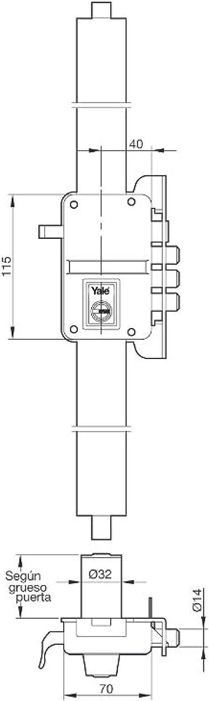 Latonado Yale 9YL645DHP Cerradura de sobreponer alta seguridad 45 mm Hoja