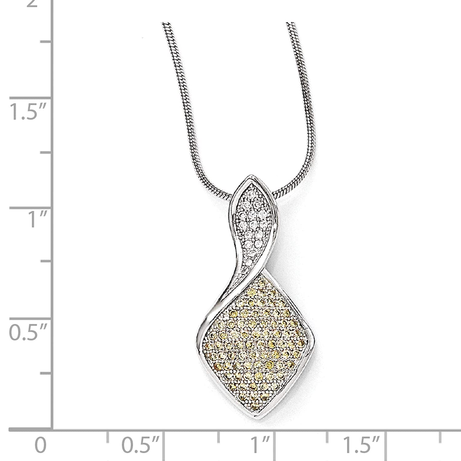2 Extender Brilliant Embers Sterling Silver Rhodium-plated Champagne /& White CZ Pendant Necklace 18