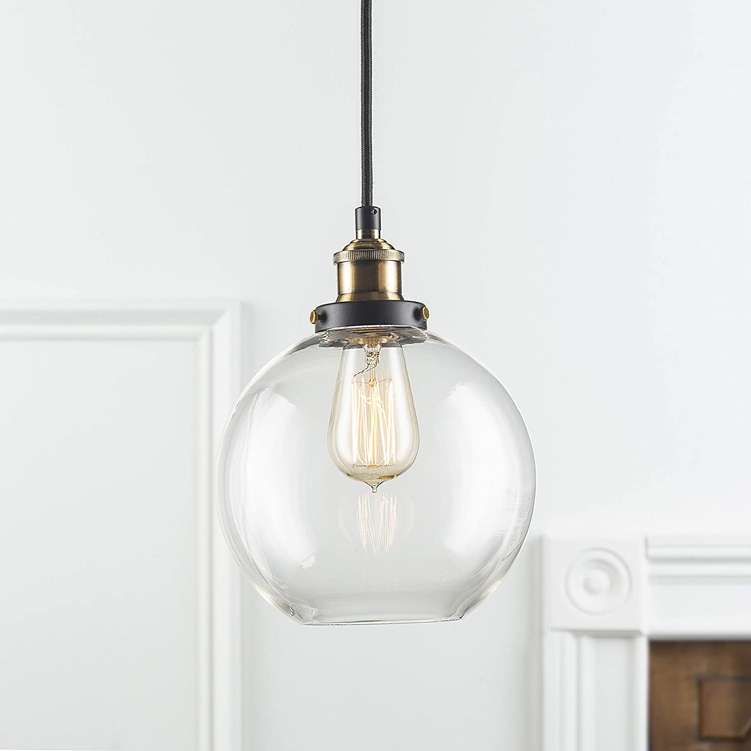 Large Glass Globe Pendant Light Fixture