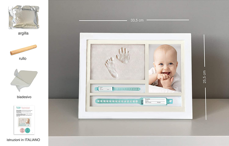 kit complet avec argile cadeau bapt/ême et naissance Cadre pour empreintes de b/éb/é et de b/éb/é porte bracelets de naissance