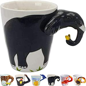 Elephant Trunk Shaped Handle - 3D Ceramic Tea Cup Lucky Elephant Coffee Mug 13.5oz Animal Novelty Funny Ceramic Mug Hand Painted Milk Cup for Office and Home (Elephant)