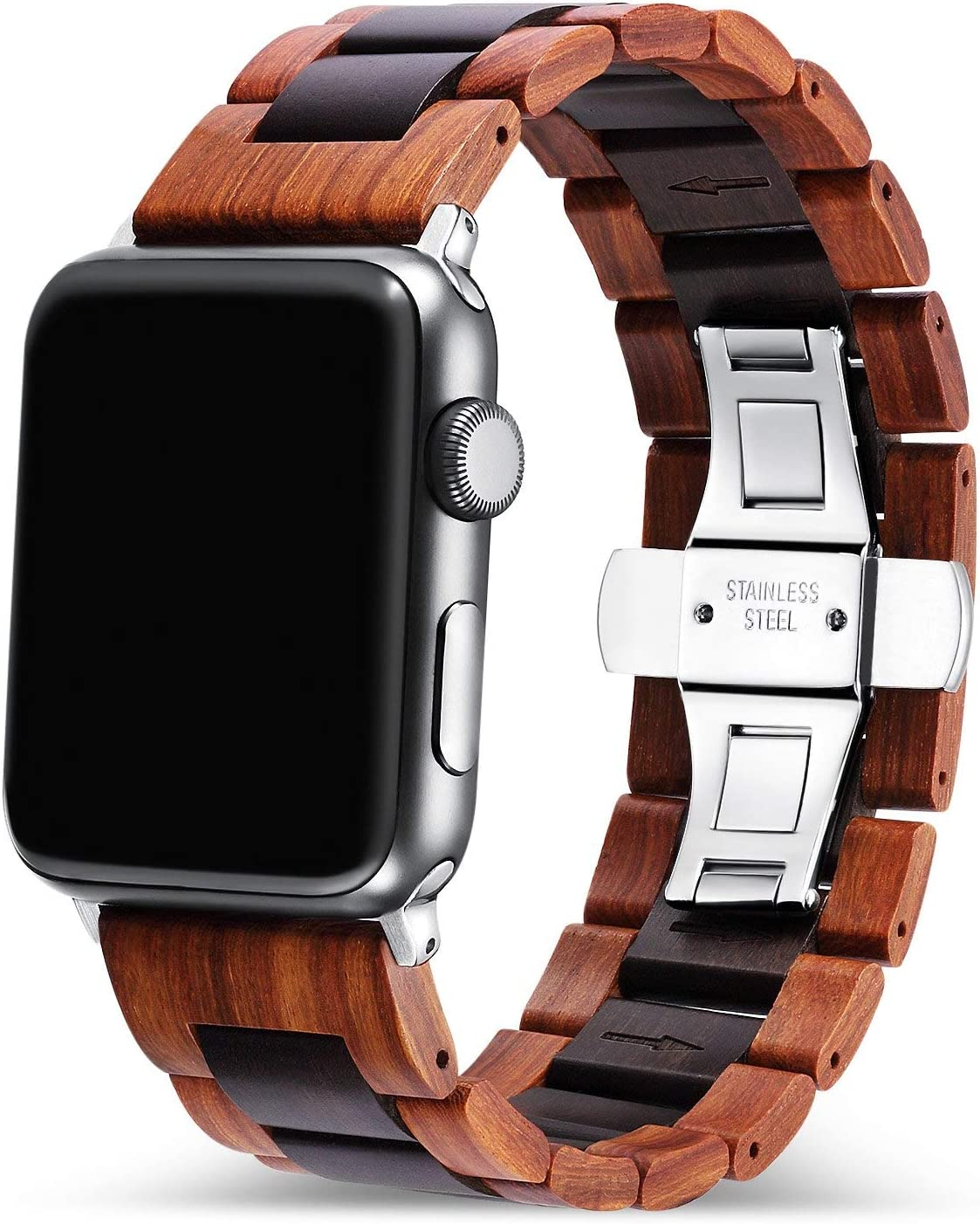 Angie Wood Creations - Red Sandalwood and Ebony Band Compatible with Apple Watch 38mm/40mm