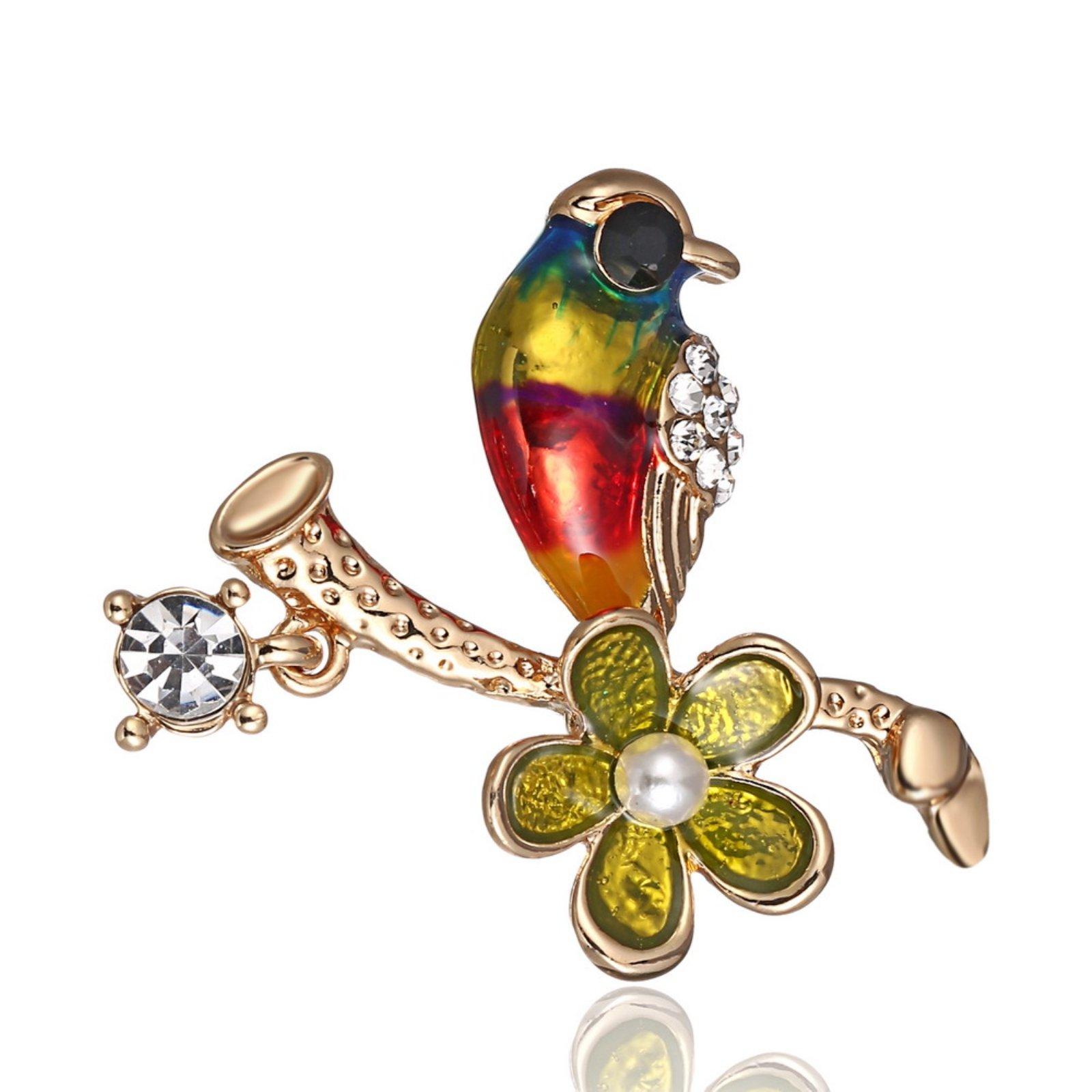 ptk12 Women Decoration Wild Animal Fashion Gold Jewelry Rhinestone Colorful Bird Brooch Animal