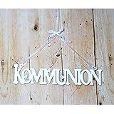 Deko Schriftzug aus Holz Kommunion weiss 9x39cm zum Hängen