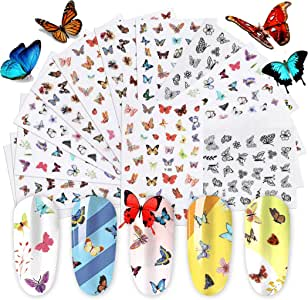14Sheets Butterfly Nail Sticker DIY Nail Art Stickers for Gel Nails Decals for Women Nail Art Accessories kit, B bangcool Nail Art Foils for Nails Design Nail Art Decal Stickers for Nail Salon Supply