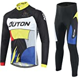 OUTON Men's Cycling Clothing Set Breathable Quick Dry Full Zip Long Sleeve Cycling Jersey + 3D Padded Pants Road Bike Comfortable Bicycle Clothes Set