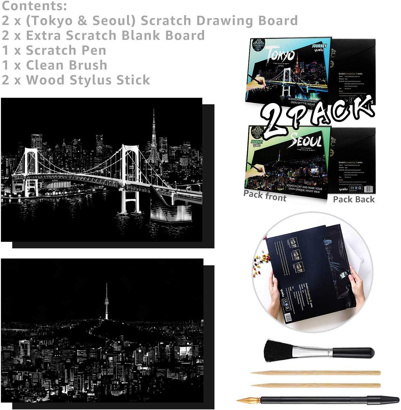 Tokyo /& Seoul 2 Packs Scratch Paper Painting Sketch Pad DIY City Series Night Scene Scratchboard for Adults and Kids ageqi Rainbow Scratch Art Painting Paper 11x16 Inch with 4 Tools