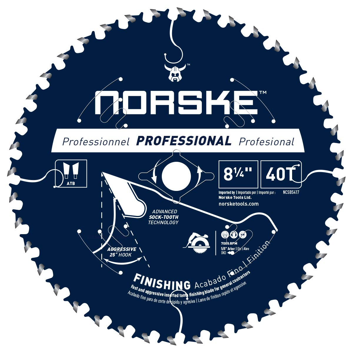 Disco Sierra NORSKE NCSBS417 8 1/4 x 40T Acabado con dient