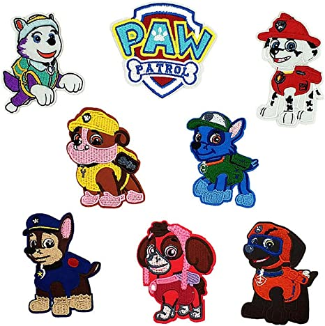 Patch Iron-On Paw Patrol Embroidered Applique Patches For KIDS Dogs Chase Rocky