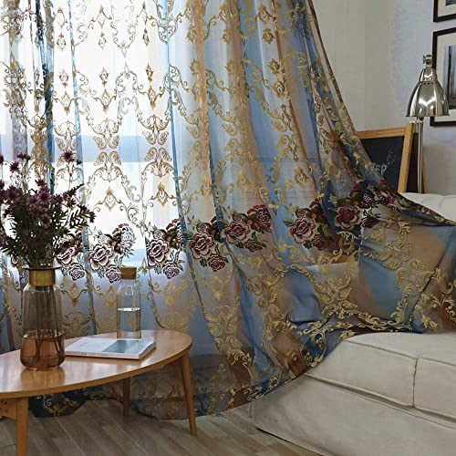 AiFish 1 Panel European Style Elegant Floral Embroidered Sheer Rod Pocket Curtain Panel Home Decorations Curtains Voile Drapes Tulle Curtains for Bedroom Living Room 75 Inches Wide by 84 Inches Long