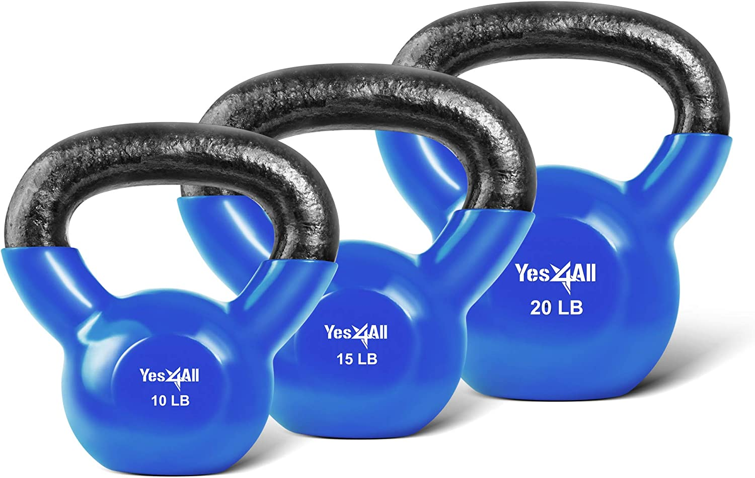 Yes4All Combo Special Vinyl Coated Kettlebell Weight Sets Weight Available 5, 10, 15, 20, 25, 30 lbs