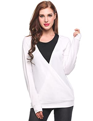 Meaneor women Long Sleeve Wrap Front Deep V-Neck Tops