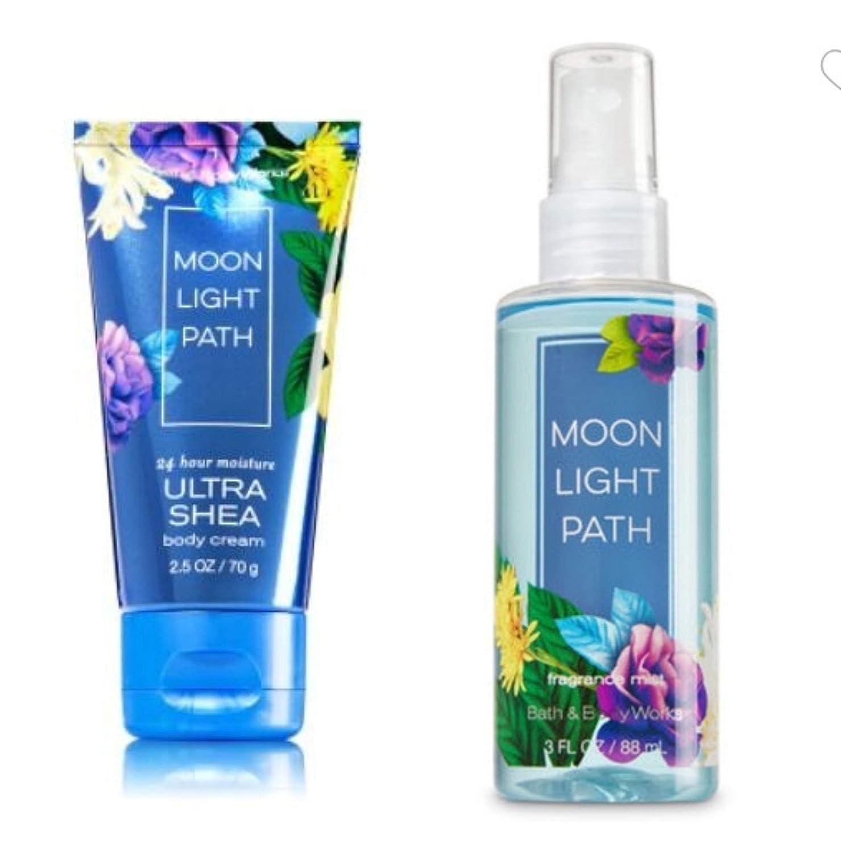 Bath Body Work Moonlight Path Travel Size Set Cream and Mist