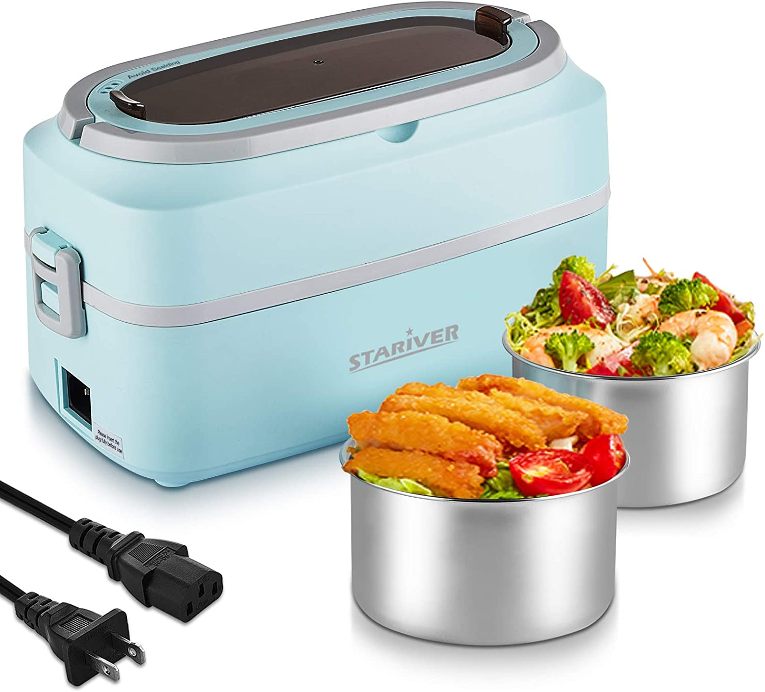 Stariver Electric Lunch Box, Portable Food Warmer, 1L Mini Rice Cooker, Food Steamer with 304 Stainless Steel Removable and Leak-Proof Containers for Home, Office, School and Travel, Blue