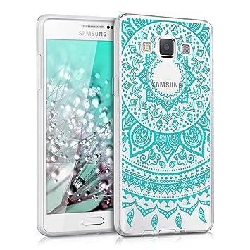 kwmobile Funda para Samsung Galaxy A5 (2015) - Carcasa de [TPU] para móvil y diseño de Sol hindú en [Menta/Transparente]