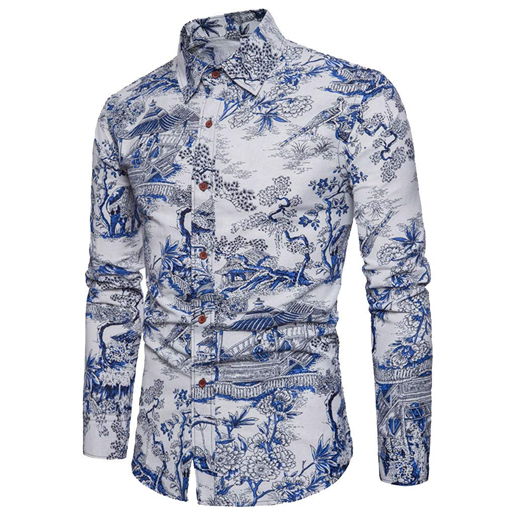 Longra Mens Print Blouse Casual Long Sleeve Shirt Business Slim Fit Shirt Top+Pants