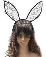 Song Rabbit Ear Lace Veil Mask Headband Halloween Party Cosplay Headwrap