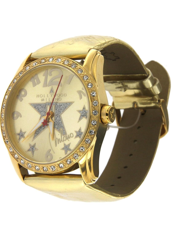 Hollywood Milano Reloj para mujer con caja de acero, correa de piel brillante dorado referenza HM.6273ls/08: Amazon.es: Relojes