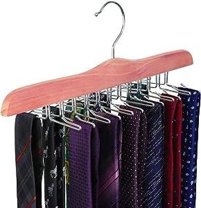 TOPIA HANGER American Red Cedar Wooden Tie Racks for Closet, 24 Tie Hangers Organizer, High-Grade Space Saving Necktie Holder for Storage and Display (1-Pack) CT14T