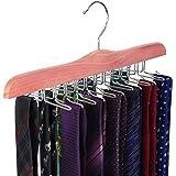 TOPIA HANGER American Red Cedar Wooden Tie Racks for Closet, 24 Tie Hangers Organizer, High-Grade Space Saving Necktie Holder