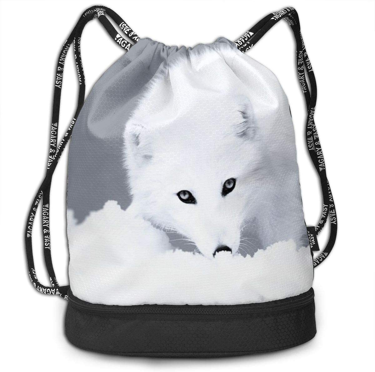 GymSack Drawstring Bag Sackpack White Fox Sport Cinch Pack Simple Bundle Pocke Backpack For Men Women