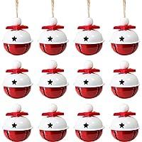 Naler 12 Campanas de Navidad Decoración Cascabeles Rojos