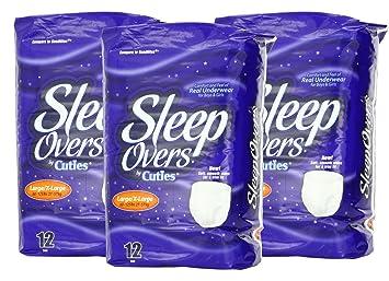 SleepOvers by Cuties 12 Pair L/XL 3-Pack