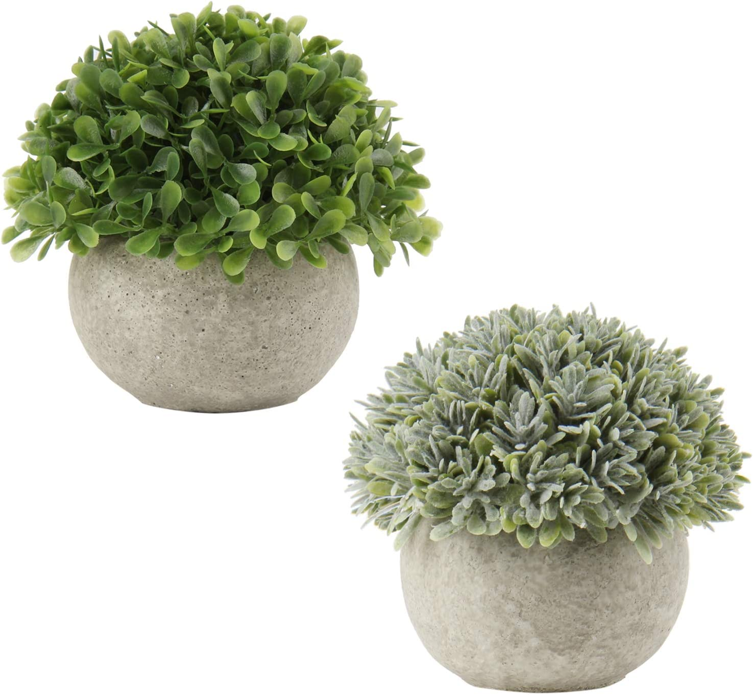 Fake Plants Artificial Mini Plants Plastic Green Grass Small Faux Greenery Potted Plant with White Cement Pots for Home Office Desk Bathroom House Decor