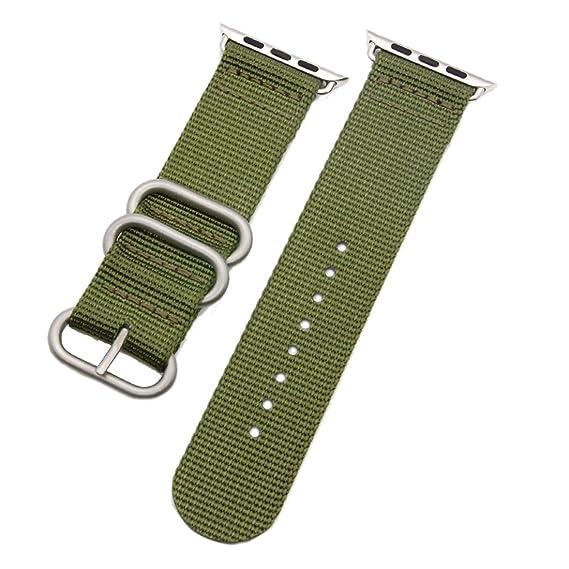 3cda1e45b 38 mm de la NATO correas de reloj de nylon estilo de lona de los hombres de  perlón militares verdes de alta calidad correas para Apple Watch:  Amazon.es: ...
