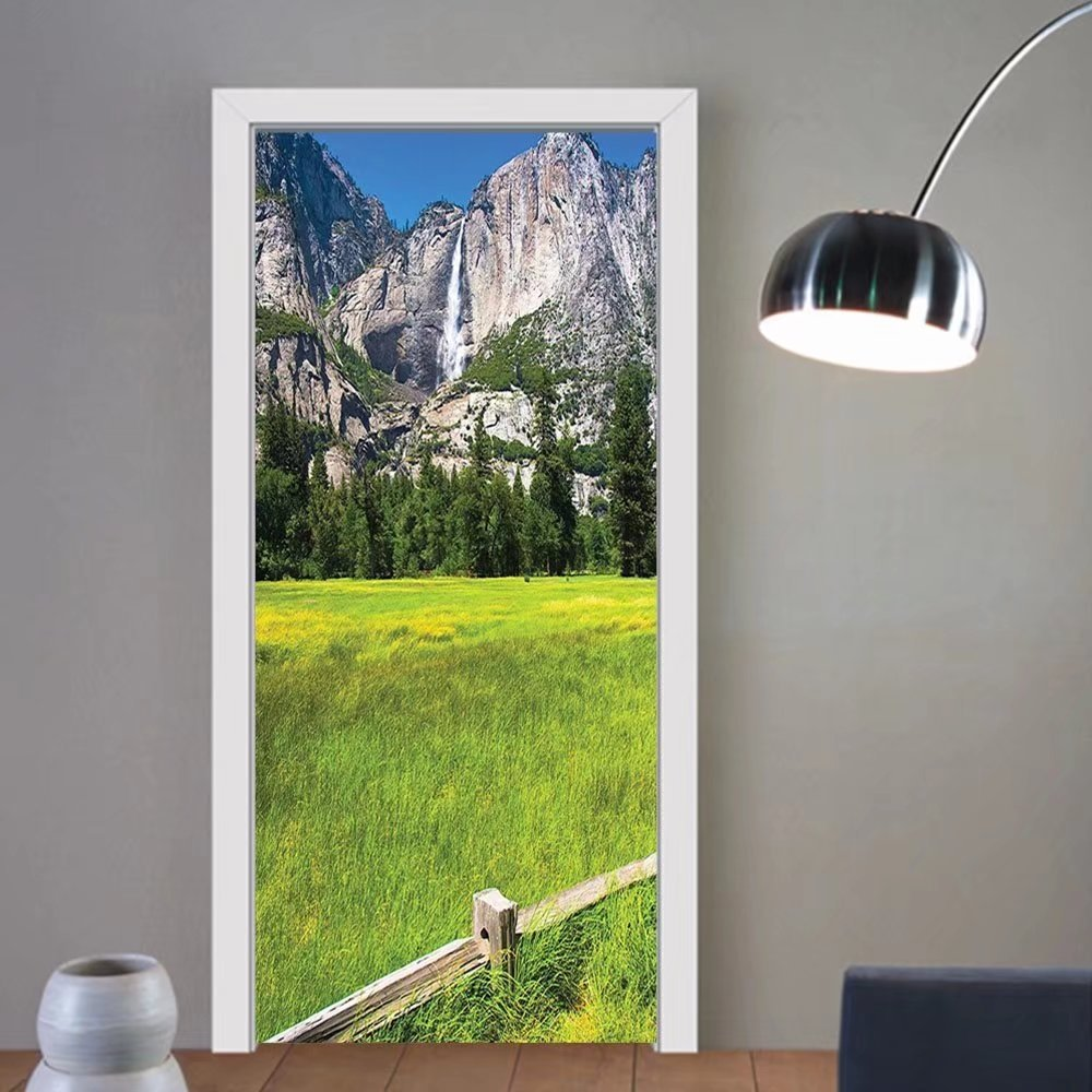Gzhihine custom made 3d door stickers Mountain Green Decor The Falls in Yosemite National Park California USA Countryside Landmark Picture Print Art Green Blue For Room Decor 30x79