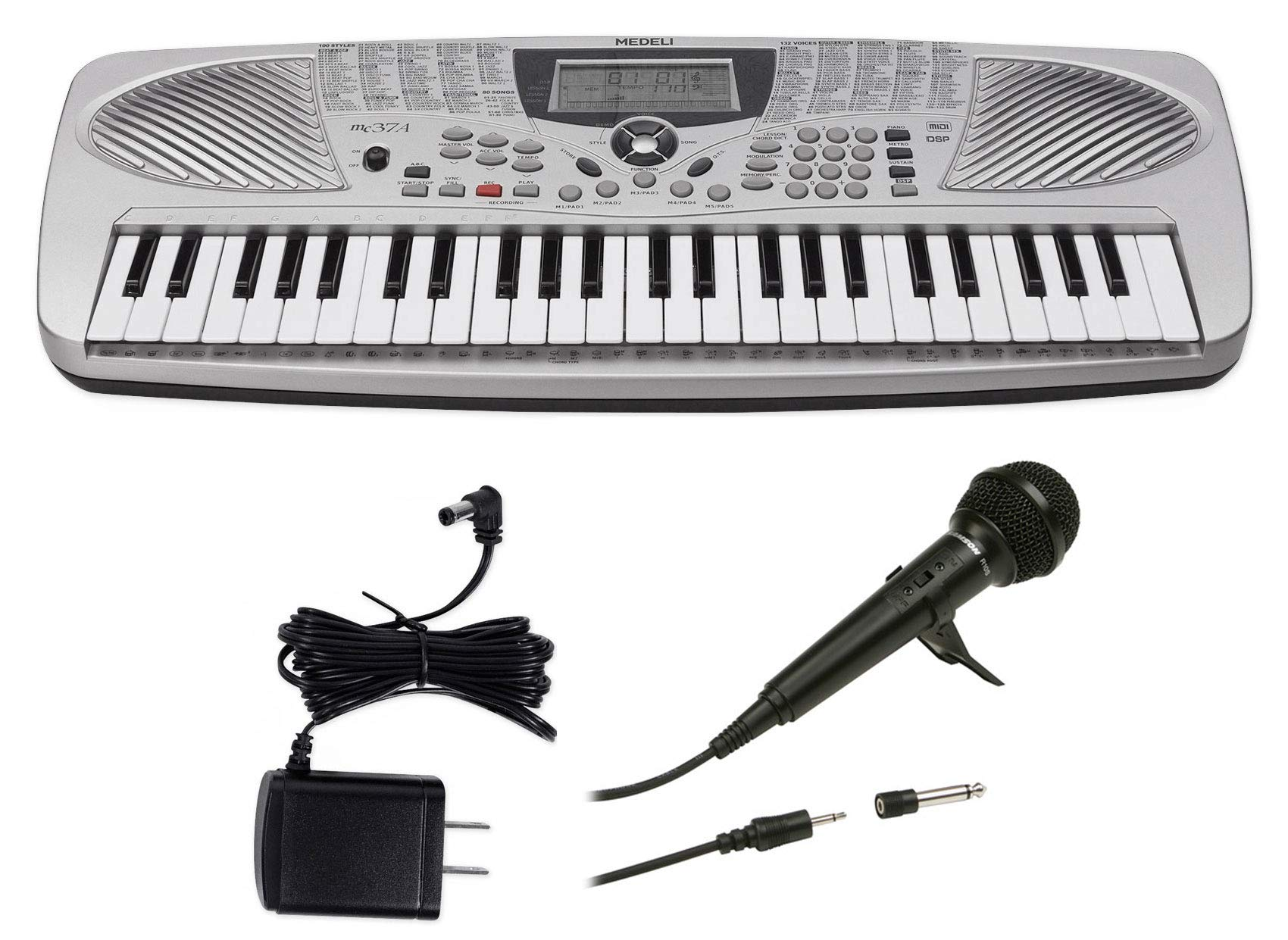 MEDELI MC37A 49-Key USB Portable Keyboard + Power Supply + Microphone
