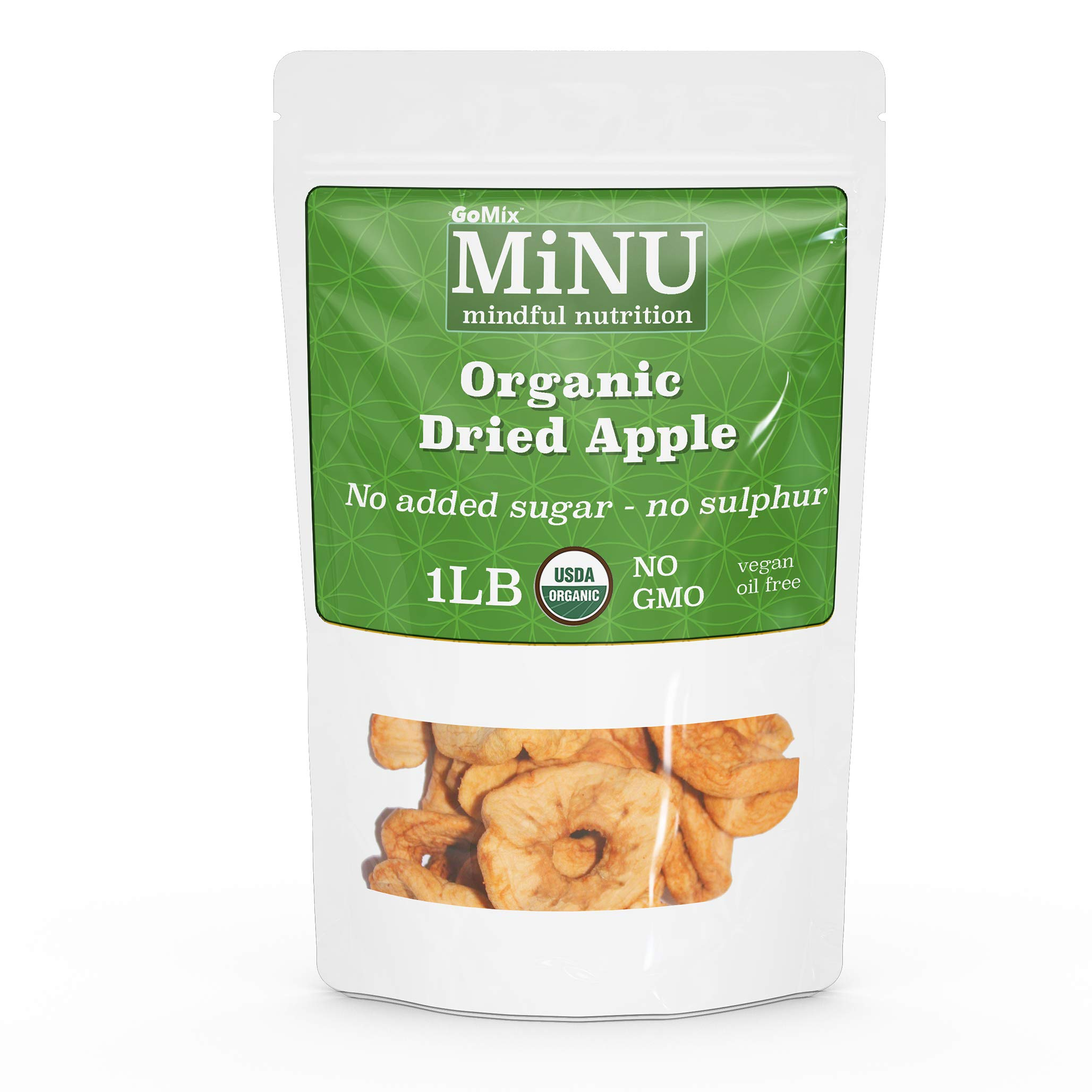 GoMix Organic Dried Apple Rings16 oz (1 lb), MiNU Mindful Nutrition No Sulphur No Added Sugar Superfood, Raw, Protein, Paleo, Vegan, NonGMO, Gluten Free No Nonsense! ... (16 oz (1 lb)) by GoMix