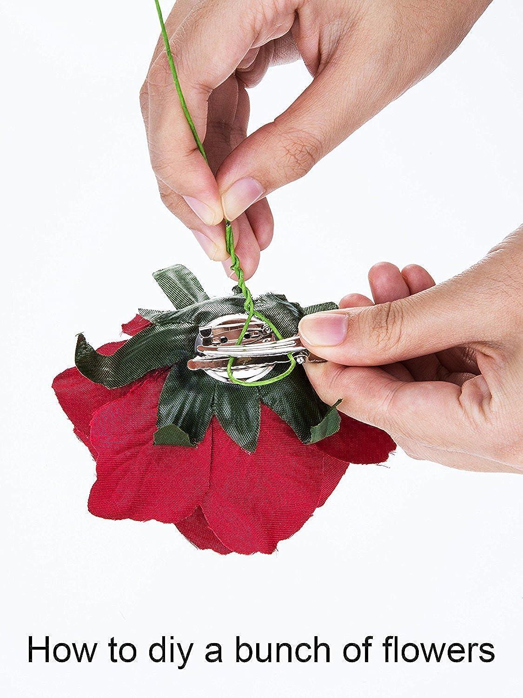 8 Pezzi Rosa Clip di Fiori Fermagli per Capelli Hairpin Fermagli di Fiori Rosso