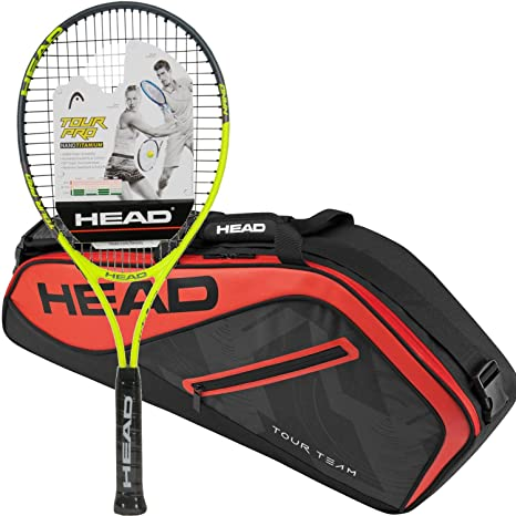 Amazon.com : HEAD Tour Pro Pre-Strung Tennis Racquet Bundled with a Tour Team Tennis Bag : Sports & Outdoors