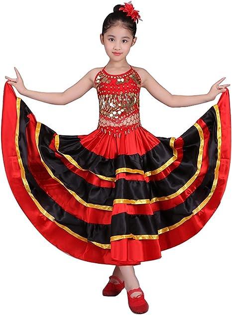 Falda de baile flamenco para niñas Traje de círculo de 360 grados Danza española Falda de toro (6-8 años, 360 la licenciatura): Amazon.es: Deportes y aire libre