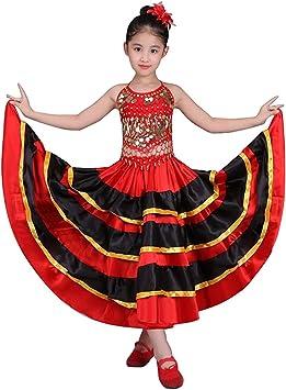 Falda de baile flamenco para niñas Traje de círculo de 360 ...