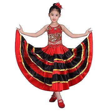 DREAMOWL Falda de Baile Flamenco para niñas Traje de círculo ...