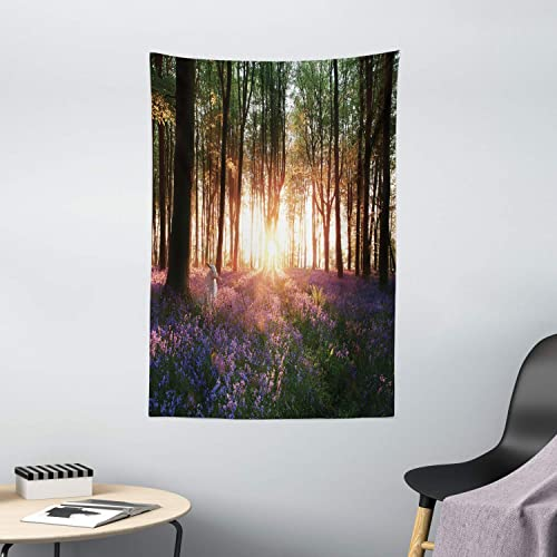 Ambesonne Forest Tapestry, Bluebell Woods Sunrise with White Rabbit Sunny Spring Day in Woodland, Wall Hanging for Bedroom Living Room Dorm Decor, 40 X 60 , Purple Green