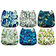 Mama Koala One Size Baby Washable Reusable Pocket Cloth Diapers, 6 Pack with 6 One Size Microfiber Inserts (Scented Foliage)