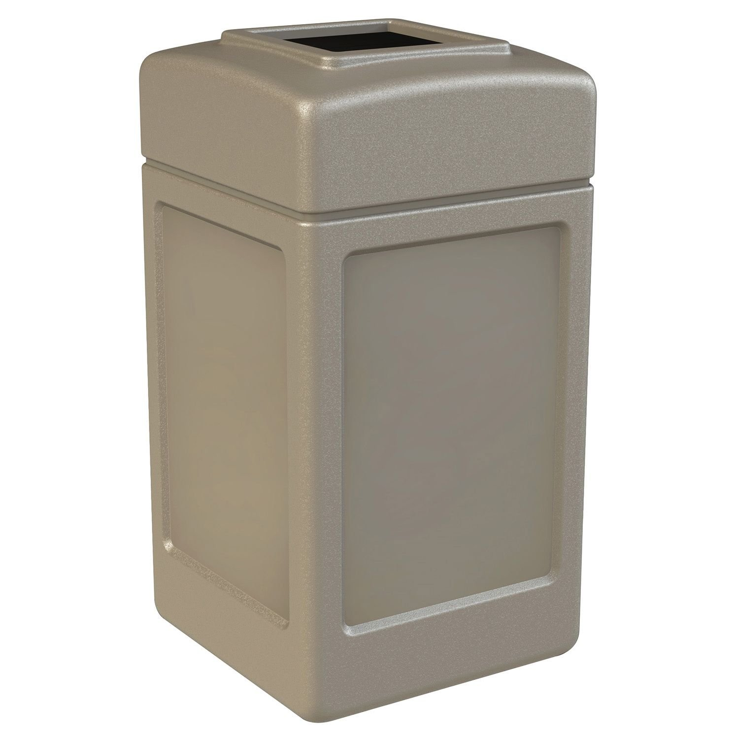 Commercial Zone Square Waste Receptacle, 42 Gallon, Beige