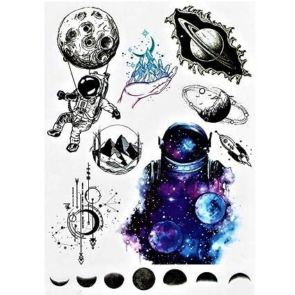 Justfox – Tatuaje temporal, astronauta espacial, diseño de luna ...