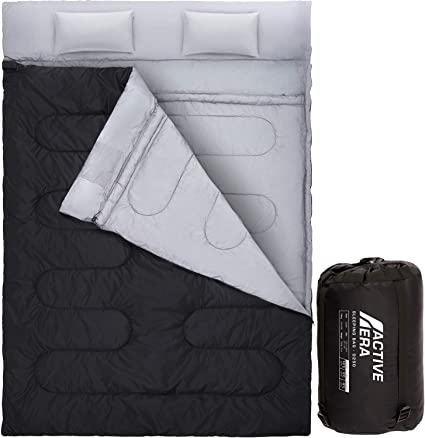 2-in-1 Double 2 Person Sleeping Bag Waterproof w//2 Pillows Camping Hiking Travel