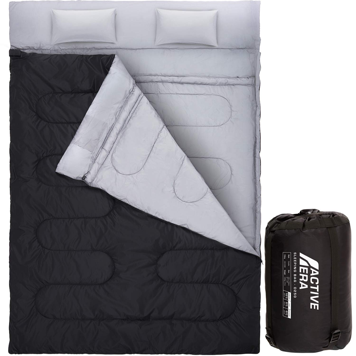 Active Era Double Sleeping Bag - Water Resistant and Lightweight Queen Size with 2 Pillows & Compression Bag, Converts into 2 Singles - 3 Seasons 32F, Perfect for Camping, Hiking, Outdoors & Travel by Active Era
