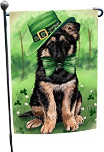 St. Patricks Day Irish Portrait German Shepherd Dog Garden Flag GFLG48714
